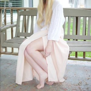 Blush Linen Wrap Skirt